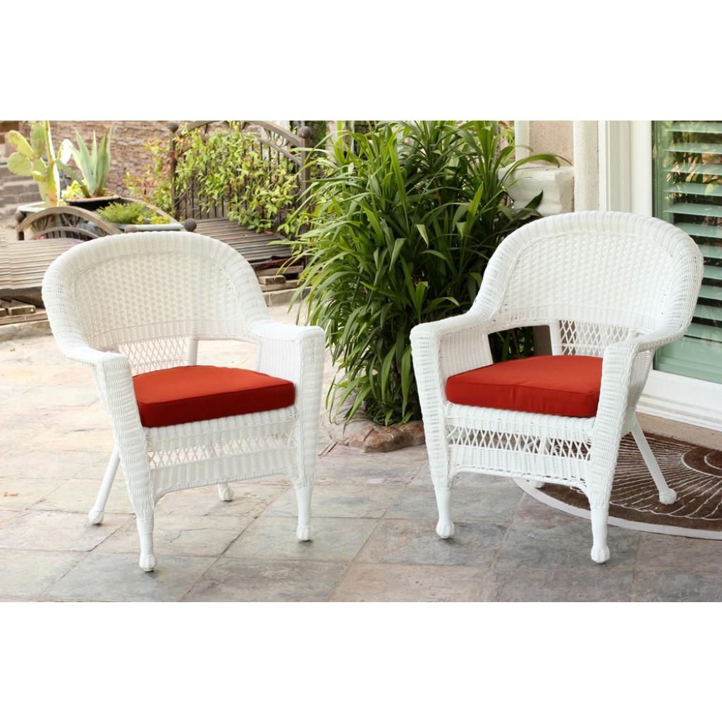 honey wicker chair with brick red cushion bazaar home
