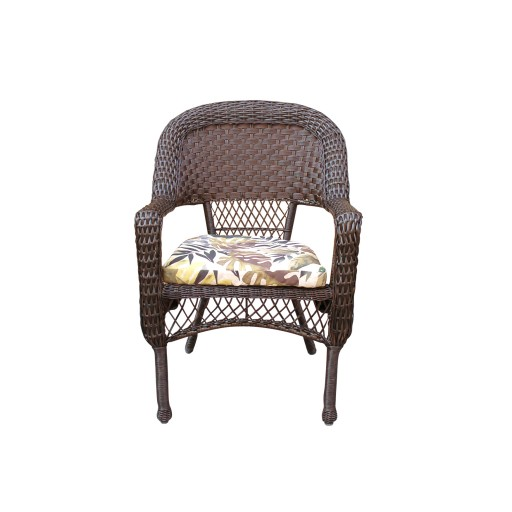 Resin wicker dining chair with 2in seat cushion