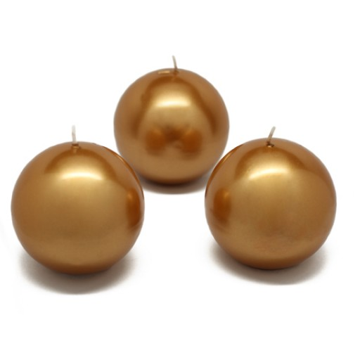 3 Inch Metallic Gold Ball Candles (6pc/Box)