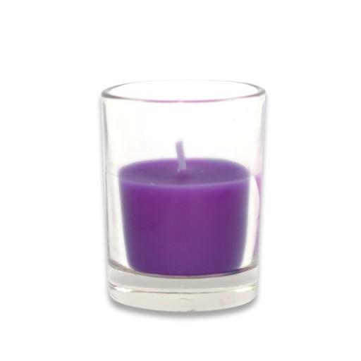 Purple Round Glass Votive Candles (12pc/Box)