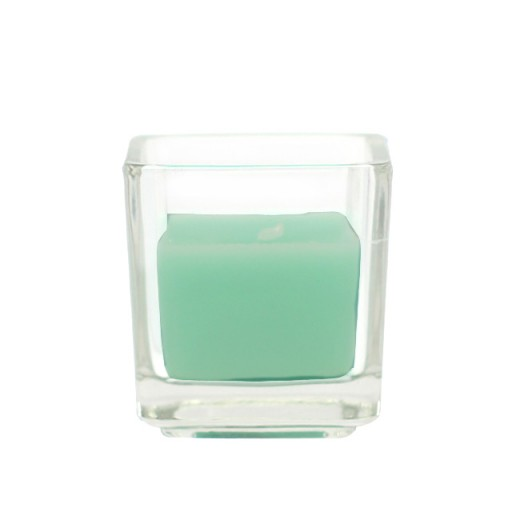 Aqua Square Glass Votive Candles (12pc/Box)