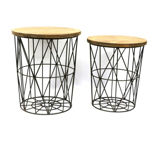 Round Metal Frame Decor Stand (Set of 2)