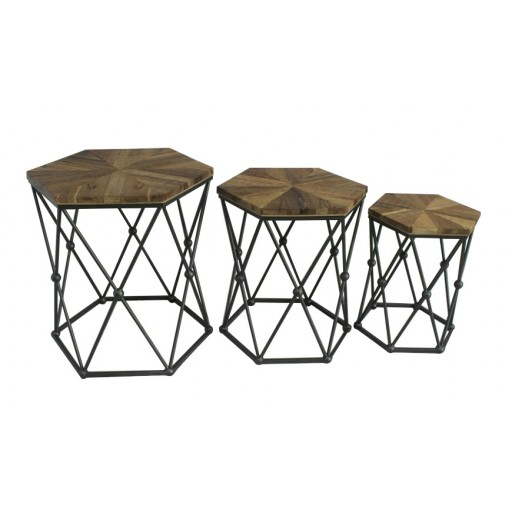 Set of 3 Hexagon Wood & Metal End Table