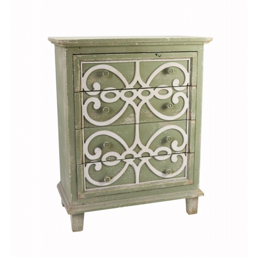 Sage Green 4-Tiered Drawer with White Pattern