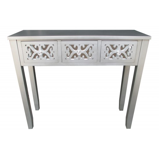 """32""""H Grey Wooden 3 Drawer Console Table"""