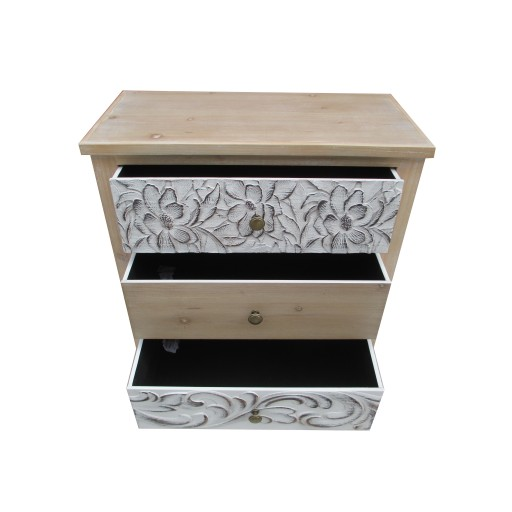 """27.36""""H Wood,White wooden Cabinet in/3 Drawers"""