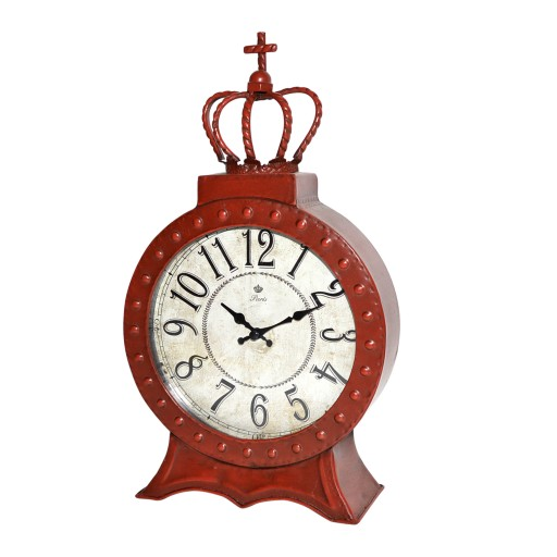 "8"" Red Metal Table Clock"