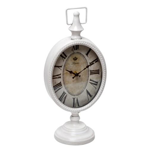 "6.75"" White Metal Table Clock"
