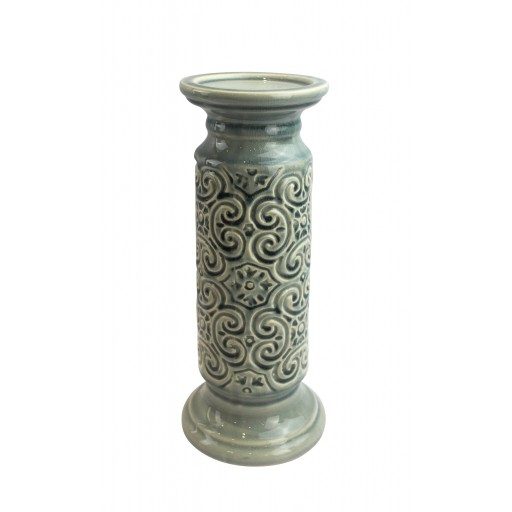 "12"" Scroll Candle Holder-Blue"
