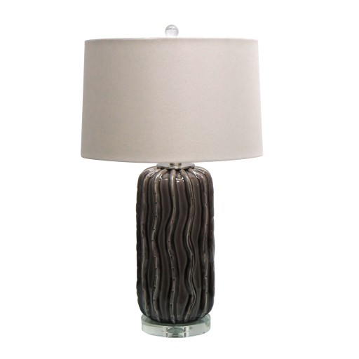 """27.75""""H Ceramic Table Lamp with Crystal Base"""