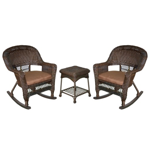 3pc Espresso Rocker Wicker Chair Set With Brown Cushion