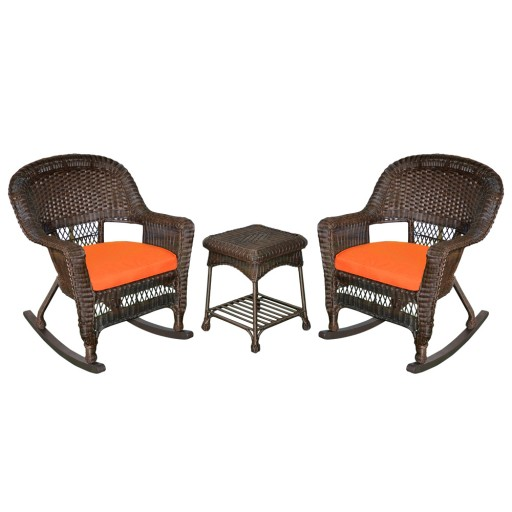 3pc Espresso Rocker Wicker Chair Set With Orange Cushion