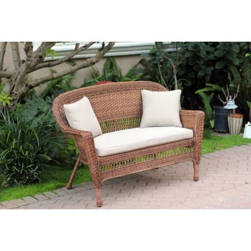 Honey Wicker Patio Love Seat With Tan Cushion and Pillows