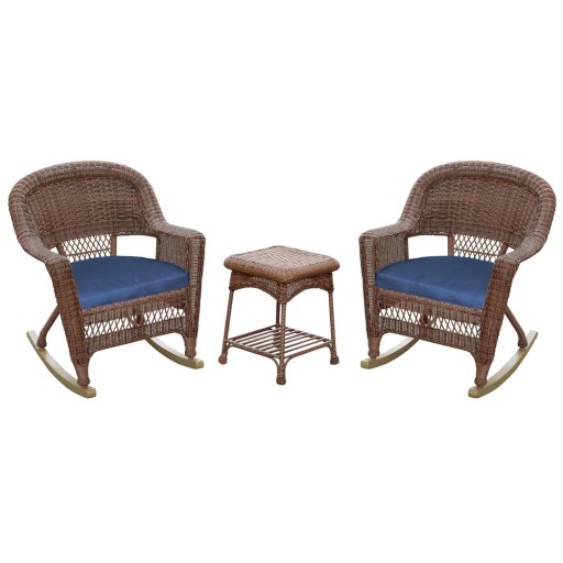 3pc Honey Rocker Wicker Chair Set With Midnight Blue Cushion