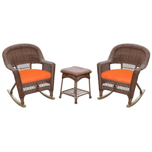 3pc Honey Rocker Wicker Chair Set With Orange Cushion