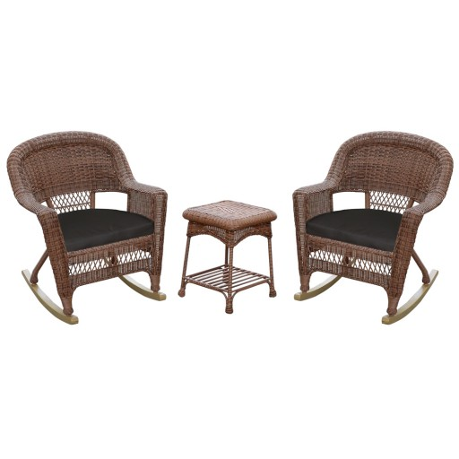3pc Honey Rocker Wicker Chair Set With Black Cushion