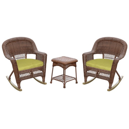 3pc Honey Rocker Wicker Chair Set With Sage Green Cushion