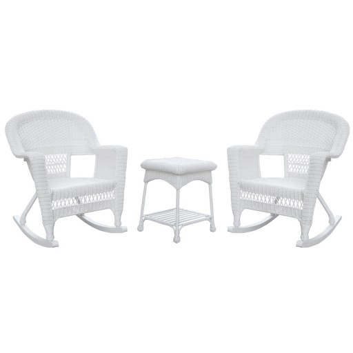 3pc White Rocker Wicker Chair Set Without Cushion