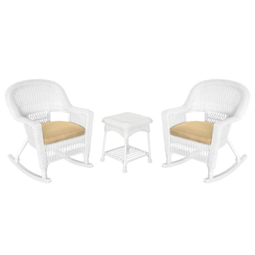 3pc White Rocker Wicker Chair Set With Tan Cushion