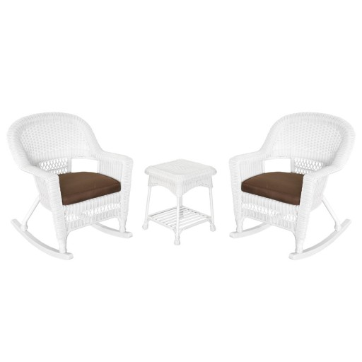 3pc White Rocker Wicker Chair Set With Brown Cushion