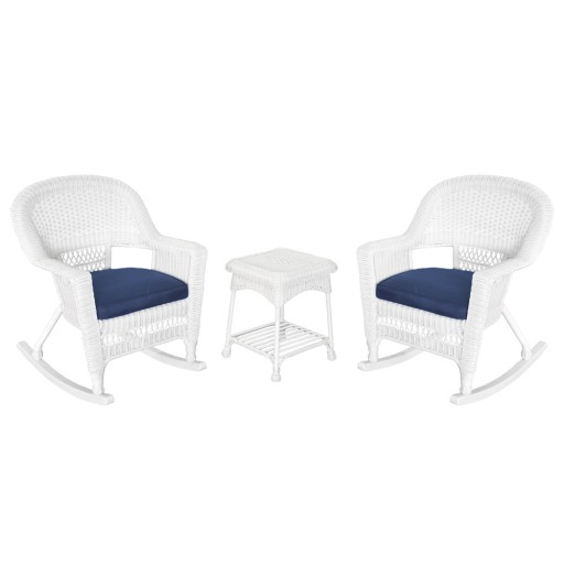 3pc White Rocker Wicker Chair Set With Midnight Blue Cushion