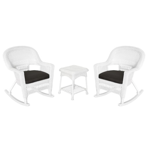 3pc White Rocker Wicker Chair Set With Black Cushion