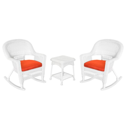 3pc White Rocker Wicker Chair Set With Brick Red Cushion