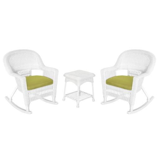 3pc White Rocker Wicker Chair Set With Sage Green Cushion