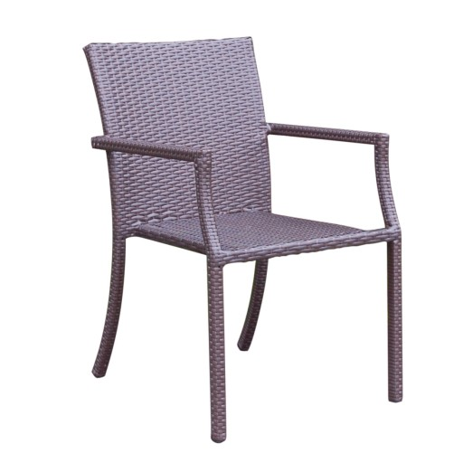 Cafe Square Back Stacking Wicker Chairs - Set of 4