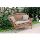 Honey Wicker Patio Love Seat With Brown Cushion and Pillows
