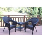 Set of 3 Espresso Resin Wicker Clark Single Chair without Cushion and End Tsble