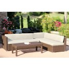 3pc Wicker Conversation Sectional Set - Tan Cushions
