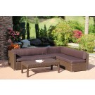 3pc Wicker Conversation Sectional Set - Brown Cushions