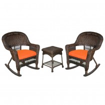 3pc Rocker Wicker Chair Set With Cushions