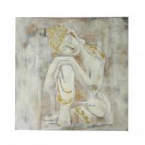 "32"" White Buddha Canvas"
