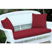 Red Loveseat Cushion with Pillows