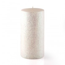 "3 x 6"" Metallic White Glitter Pillar Candle"