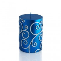 "3 x 4"" Blue Scroll Pillar Candle"