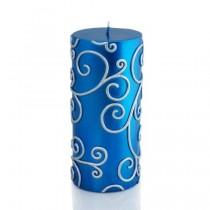 "3 x 6"" Blue Scroll Pillar Candle"