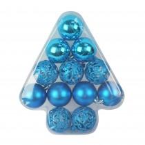 12Pcs Blue Christmas Tree Shape Ornament