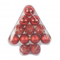 12Pcs Red Christmas Tree Shape Ornament