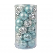 Combo 30Pc Christmas Ornament-Blue And Silver