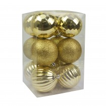 """Gold 12Pc  2.75"""" Christmas Ornament"""