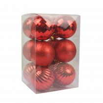 """Red 12Pc  2.75"""" Christmas Ornament"""
