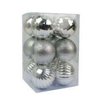 "Silver 12Pc  2.75"" Christmas Ornament"