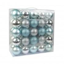 "Combo 50Pk 3""  Shiny Glitter Square-Silver/Blue Christmas Ornament"