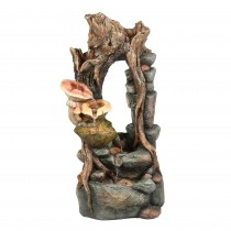40 Inch Withered  Wood and Mushroom Fountain with Led Light