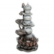 31 Inch Yoga Frogs Fountain with Led Light