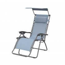 Bonnie Zero Gravity Chair with Sunshade Pillow and Drink Tray- Gray