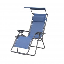 Marina Zero Gravity Chair with Sunshade Pillow and Drink Tray- Navy Blue